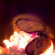 Burning logs in fire - Stock Photo