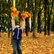 Child throwing autumn leaves — Stock Photo #1024774