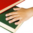 Hand and Books — Stock Photo