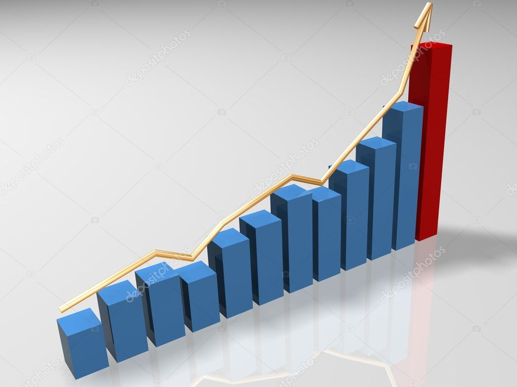 Graph growth consist of blue bars, red bar and gold arrow — Stock Photo #1022743