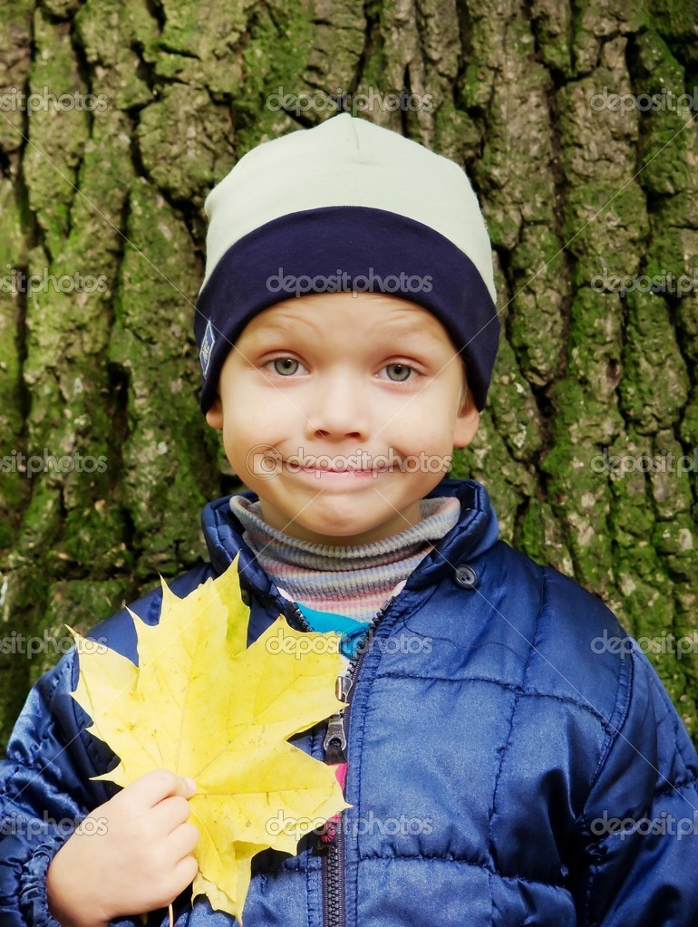 Portrait of smiling little boy, on a background the barrel of old tree, holding a yellow maple leaf in a hand. It is an autumn smile... — Stock Photo #1023577