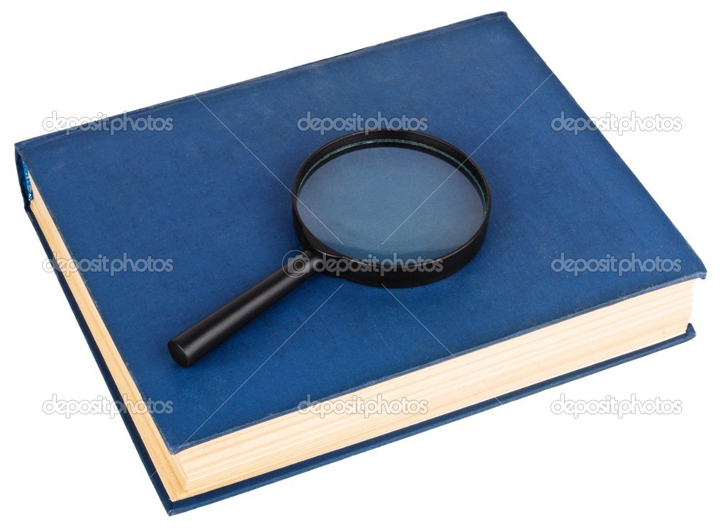 Blue book and magnifying glass isolated on the white — Stock Photo #2376510
