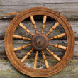 Spinning Wheel On The Blockhouse Wall - Stock Photo