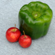 Huge Green Pepper And Red Apples - Stock Photo