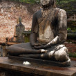 Two Seated Buddhas In The Rain - Stock Photo