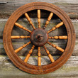 Stock Photo: Spinning Wheel On The Log House Wall