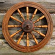 Spinning Wheel On The Log House Wall - ストック写真