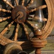 Stock Photo: Betty Lamp, Jug And Spinning Wheel