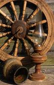 Betty Lamp, Jug And Spinning Wheel — Stock Photo