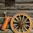 Stock Photo: Ceramic Bottle And Spinning Wheel On The
