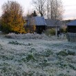 Stock Photo: First Frosty Morning In RussiVillage