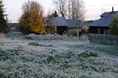First Frosty Morning In Russian Village — Stock Photo