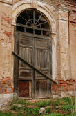 Boarded Up Door To The Church — Stock Photo