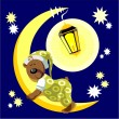 Royalty-Free Stock Imagem Vetorial: Bear sleep on moon color 17