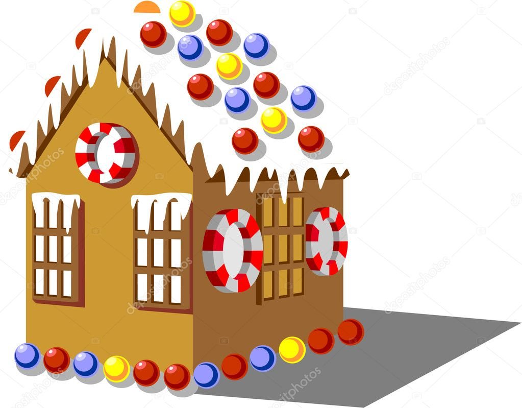 Vector. Gingerbread house color 01 — Image vectorielle #1010992