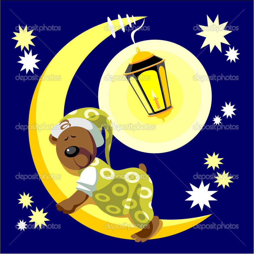 Vector. Bear sleep on moon color 17  Stock Vector #1016358