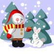 Snowman color 06 - Stock Vector