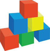 Cubes color 1 — Stock Vector