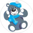 Bear with snowflake color 01 — Stock Vector