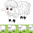 Lamb color 01 — Stock Vector