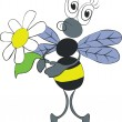 Bee with flower color 02 - Stock Vector