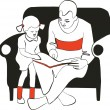 Royalty-Free Stock Vektorfiler: Reading family silhouette 01