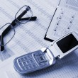 Phone, daily book and glasses — Stock Photo #1028644