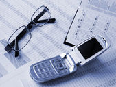 Phone, daily book and glasses — Stock Photo