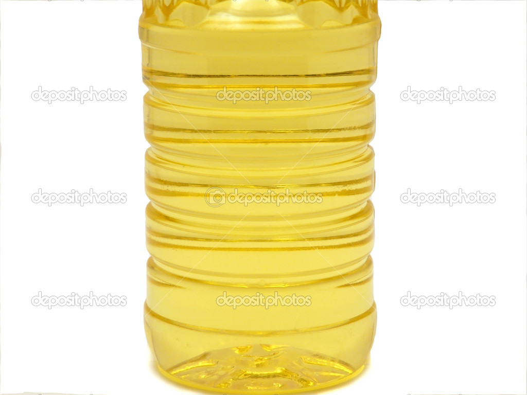 Bottle with sunflower oil isolated over white. — Stock Photo #1028583