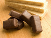 Wafers and chocolate candies — Stock Photo