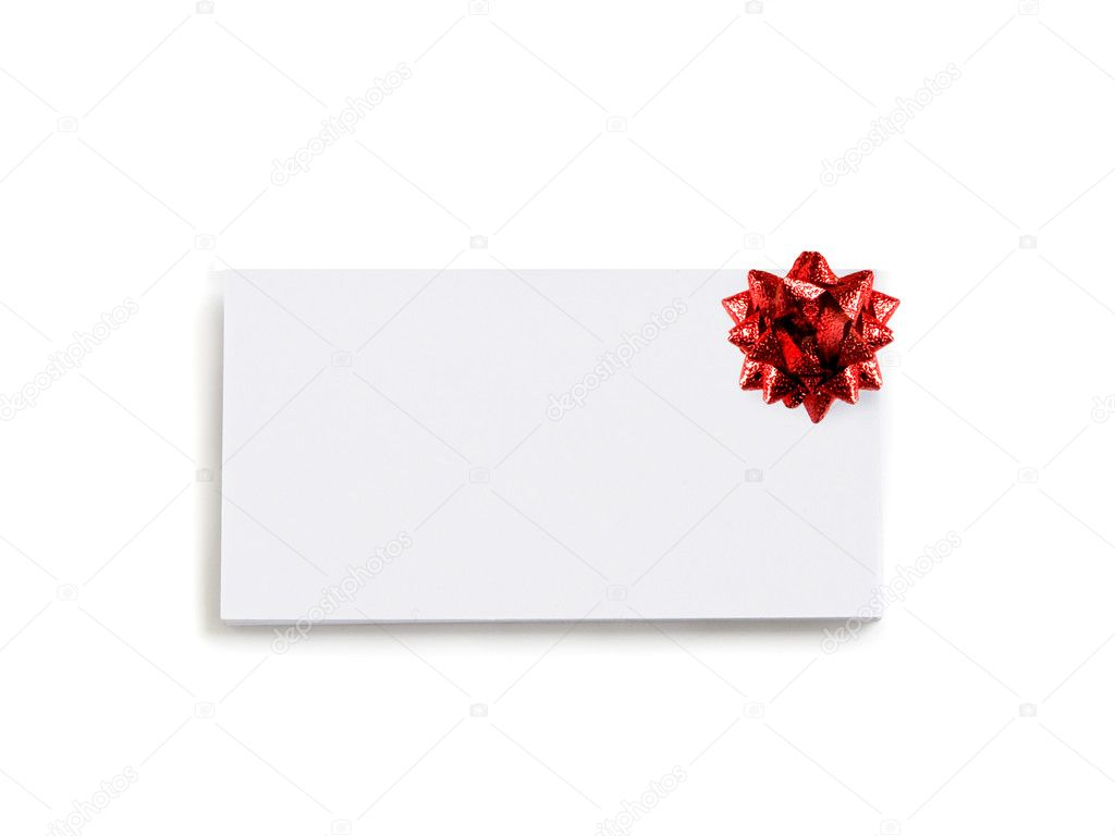 Blank card with red bow, isolated over white. — Lizenzfreies Foto #1080908