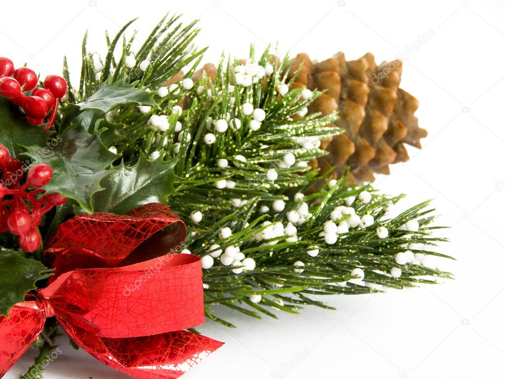 Christmas decoration pinecone, isolated over white. — Stock Photo #1081053