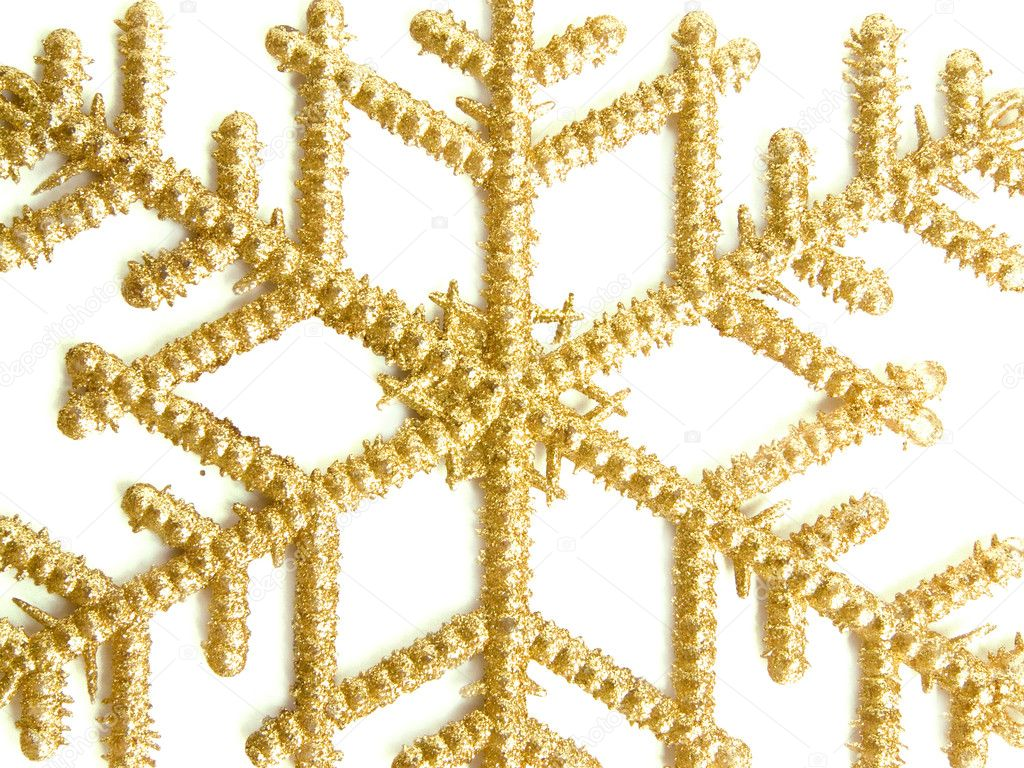 Christmas decoration golden snowflake, isolated over white.  Stock Photo #1081075