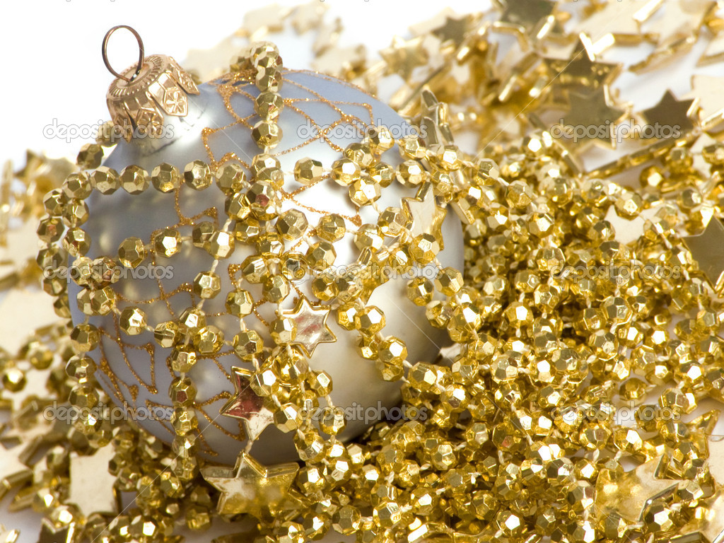 One christmas ball with golden christmas decoration. Shallow dof. — Stock Photo #1084095
