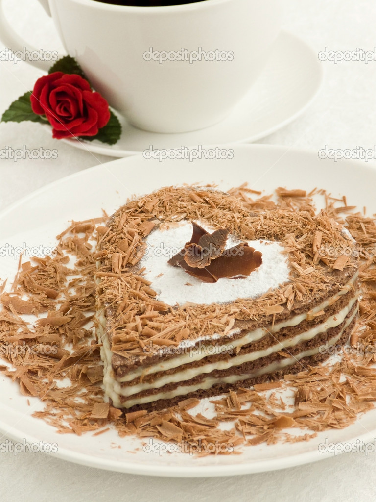 Heart-shaped cake - Stock Image