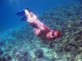 Diver and coral reef — Stock Photo