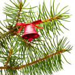 Royalty-Free Stock Photo: Bell hanging on a green spruce branch