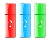 Unidade flash usb colorido — Vetor de Stock