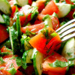Salad with Fork — Stock Photo