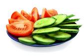 Fatias de tomate e pepino — Fotografia Stock