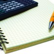 Notebook, Pen and Calc — Stock Photo