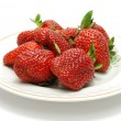 Plate with Red Strawberries — Stock Photo #1220424