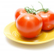 Red Tomatoes on Plate — Stok fotoğraf