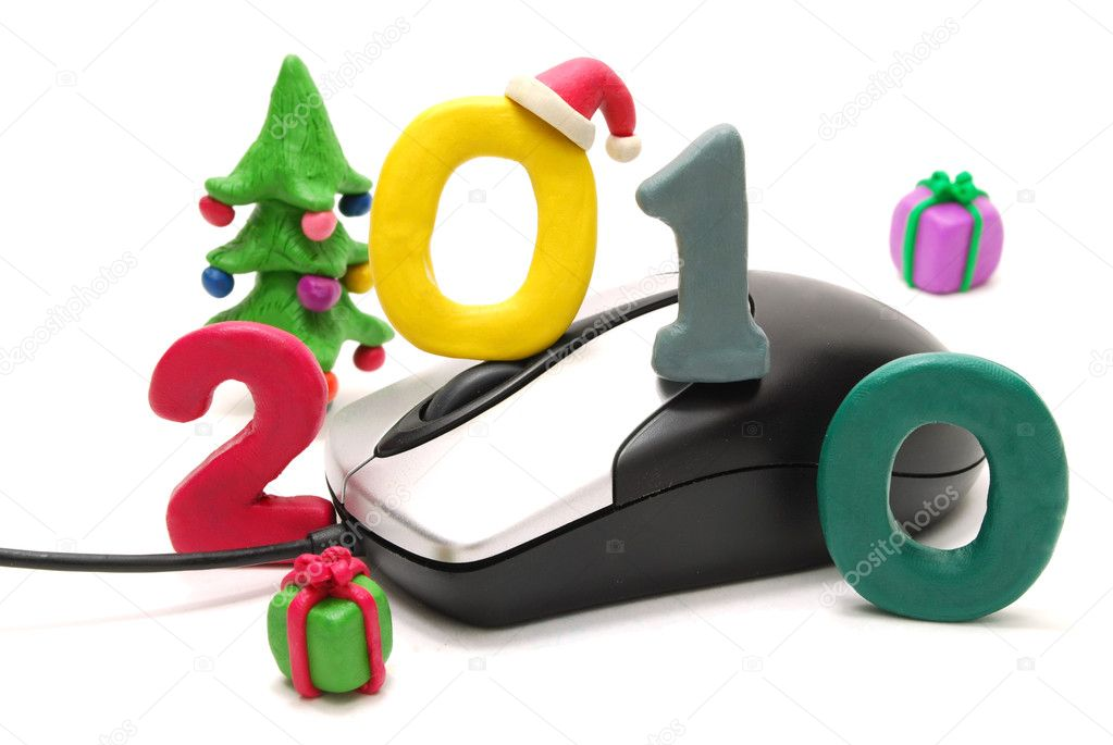3D New Year Text 2010 with Christmas Tree and Gifts Made of Colored Plasticine and Computer Mouse Isolated on White Background — Stock Photo #1370498