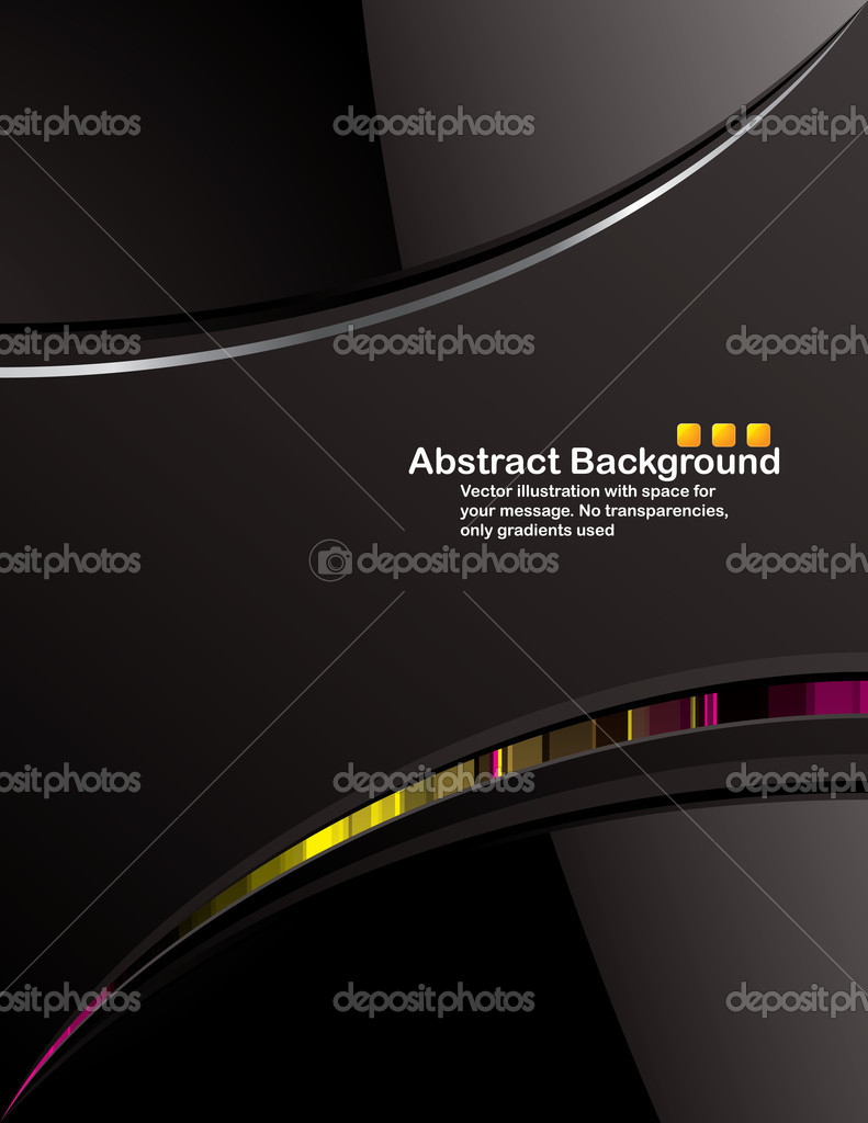Vector. Clean black background design with glossy elements. No transparencies, only gradients used — ベクター素材ストック #1131463