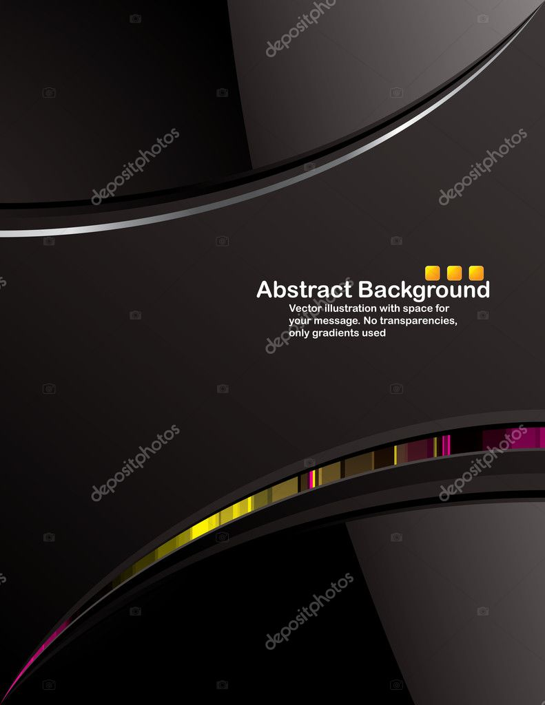Vector. Clean black background design with glossy elements. No transparencies, only gradients used  Grafika wektorowa #1131463