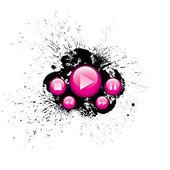 Pink vector media control buttons — Stock Vector