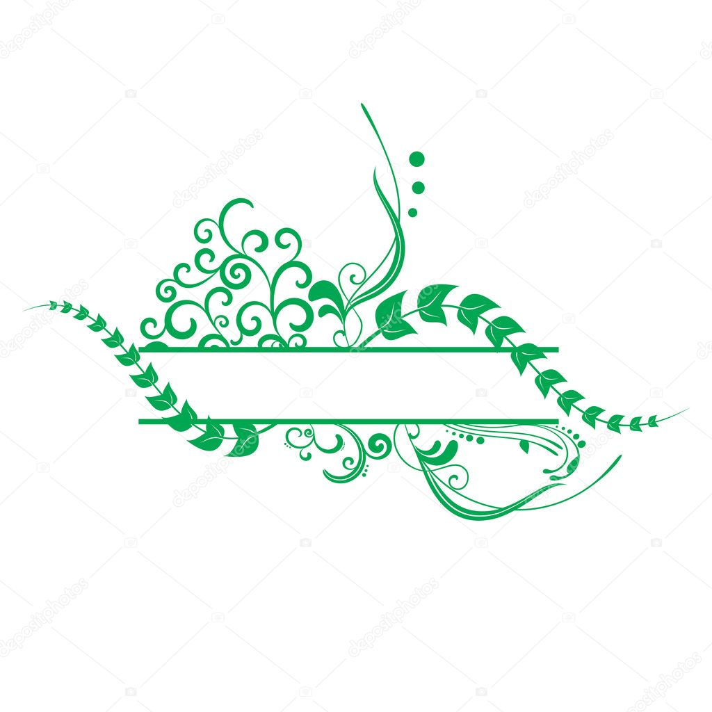 Green  floral vector frame  Stock Vector #1175960