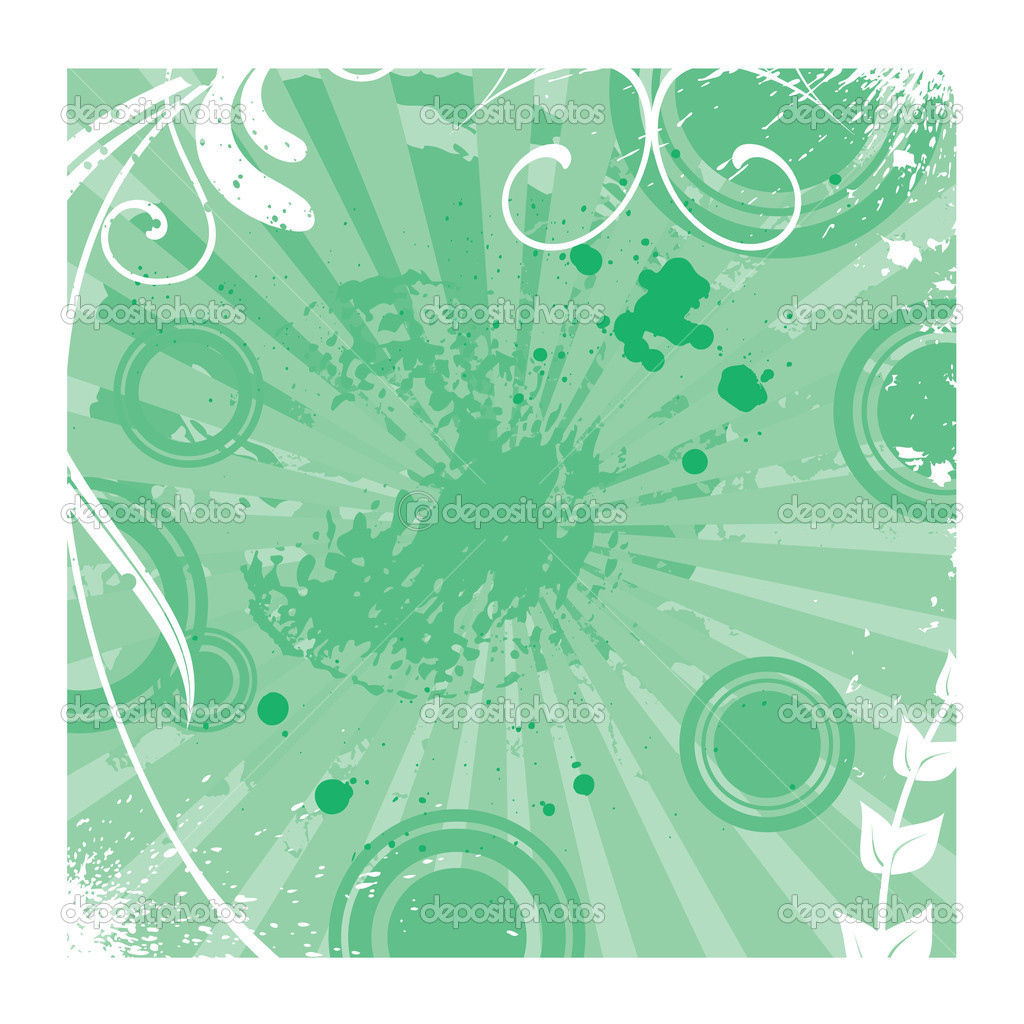 Light green grunge floral vector background with rays — Stock Vector #1176179
