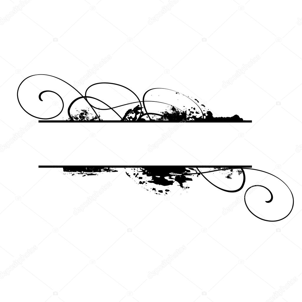 Black grunge vector frame with floral elements — Stock Vector #1179640